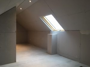 Skylight and plasterboard