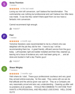 Google Reviews for Yorkshire Loft Solutions