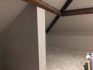 Plaster boarding of mini loft conversion