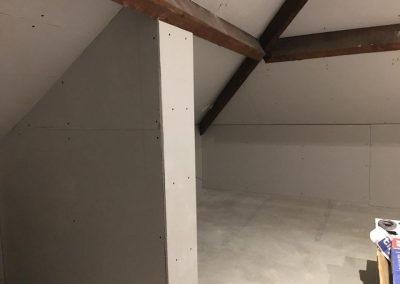 Plaster boarding of mini loft conversion