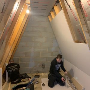 Mini Cinema ready for plastering with fakro ladder hatch down