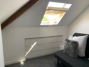 Skylight and sliding storage option